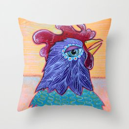 Chicken in the Sunset Throw Pillow