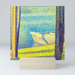 Georges Seurat Moored Boats and Trees Mini Art Print