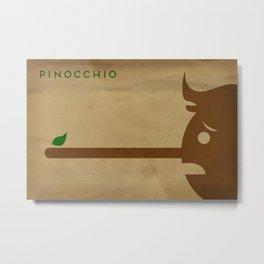 Pinocchio Minimalist Fairytales Metal Print