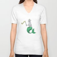 capricorn V-neck T-shirts featuring Capricorn by Dan Paul Roberts