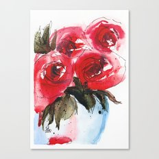 Red Roses Floral Canvas Print