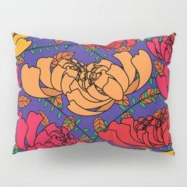 Flowery Pattern Blue Magenta Pillow Sham
