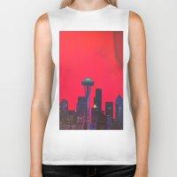 seattle Biker Tanks featuring Seattle. by Daniel Montero