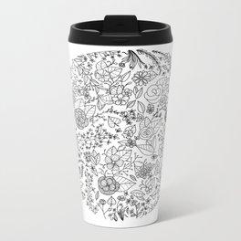 Floral Line Garden Metal Travel Mug