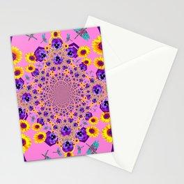 PURPLE MILLEFIORI PANSY YELLOW FLOWERS Stationery Cards