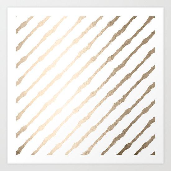 Simply Diagonal Stripes in White Gold Sands on White Art Print