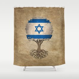 Vintage Tree of Life with Flag of Israel Shower Curtain
