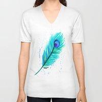 indigo V-neck T-shirts featuring Indigo by N. Rogers Fine Art
