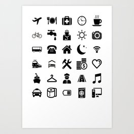Basic black model: Traveler emoticon help for travel t-shirt Art Print