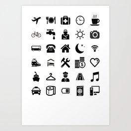 Basic black model: Traveler emoticon help for travel t-shirt Art Print