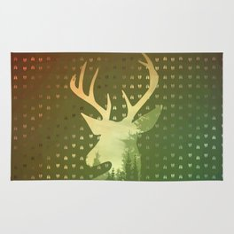 Golden Deer Abstract Footprints Landscape Design Rug