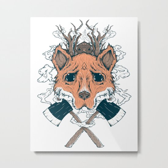 Fox and the House Metal Print