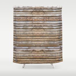 Wood Effects Raw Wood Log Cabin Lodge Rustic Shower Curtain