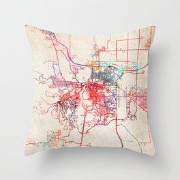 Rapid City map South Dakota SD Throw Pillow