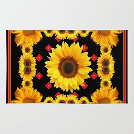 Black Western Blanket Style Sunflowers Rug