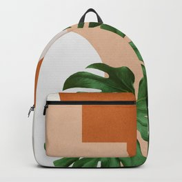 Abstract shapes art, Tropical leaves, Plant, Mid century modern art Backpack