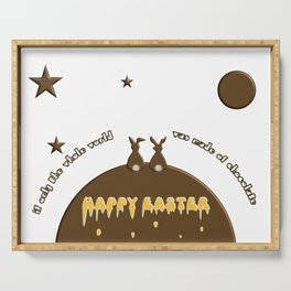 Easter Bunnies and Chocolate Egg Funny Quote  Serving Tray