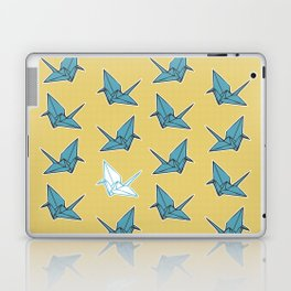 PAPER CRANES BABY BLUE AND YELLOW Laptop & iPad Skin