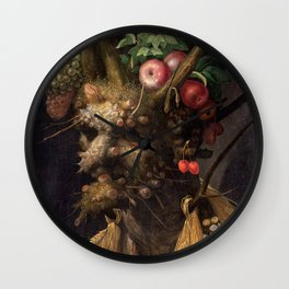 Four Seasons In One Head - Giuseppe Arcimboldo Wall Clock