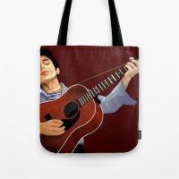 bob dylan Tote Bags featuring Bob Dylan by Derek Donovan