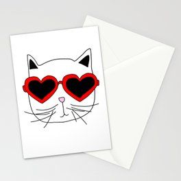Cat Heart Sunglasses Stationery Cards