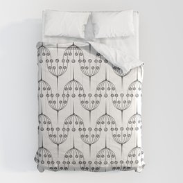 Abstract geometric pattern with floral elements Comforters
