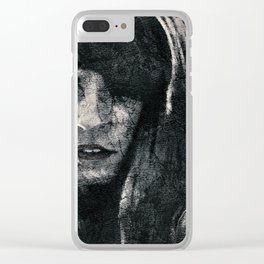 Creepy Artistic Woman Portrait Clear iPhone Case