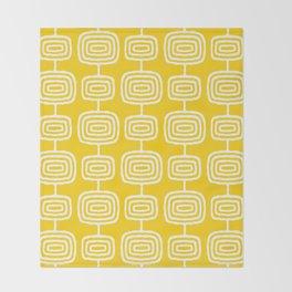 Mid Century Modern Atomic Rings Pattern Yellow Throw Blanket