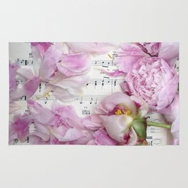 Shabby Chic Cottage Peonies On Sheet Music - Inspirational Peonies Print Rug