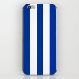 Dark powder blue - solid color - white vertical lines pattern iPhone Skin