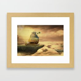 The Snail With The Castle Back Pulls The World Framed Art Print