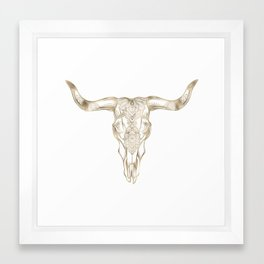 Bull Skull Gold Framed Art Print