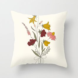 Wildflowers Bouquet Throw Pillow