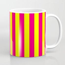 Super Bright Neon Pink and Yellow Vertical Beach Hut Stripes Coffee Mug