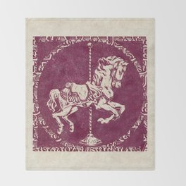 Vintage Carousel Horse - Mulberry Throw Blanket