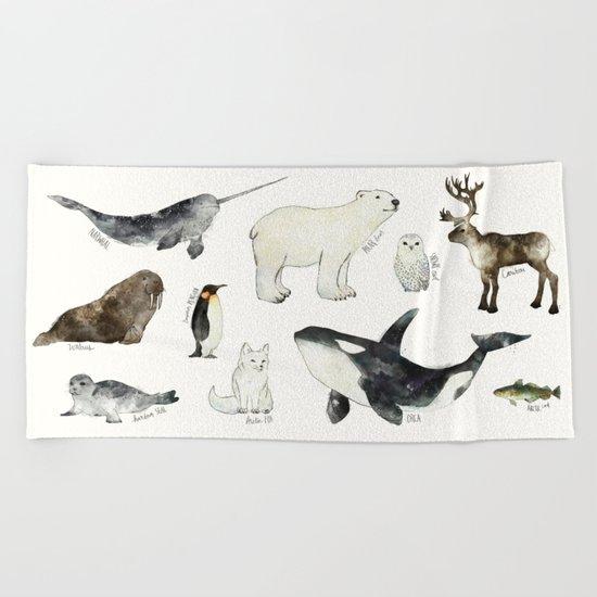 Arctic & Antarctic Animals Beach Towel