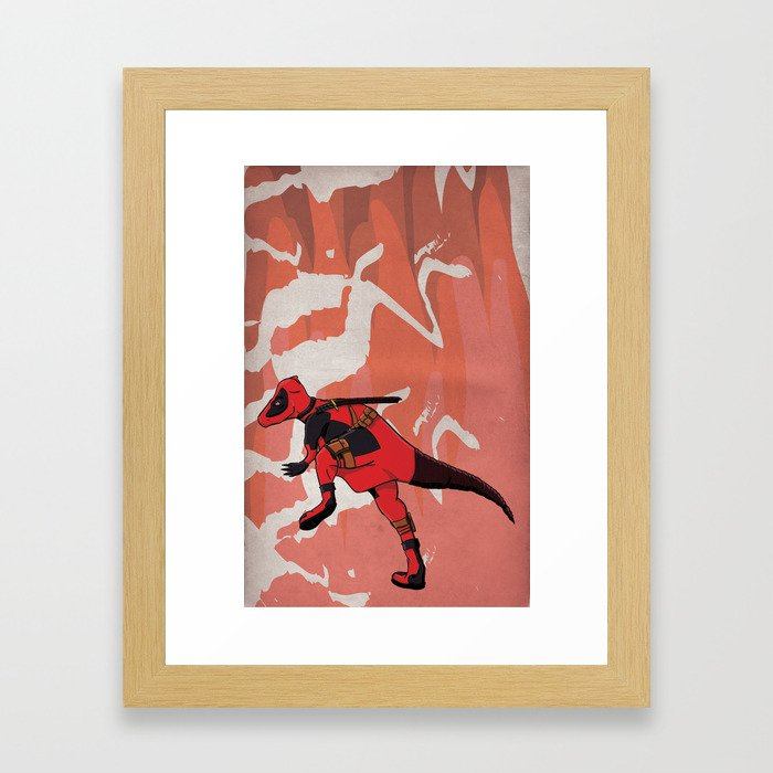 Deadpachycepoolosaurus - Superhero Dinosaurs Series Framed Art Print