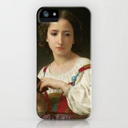 """William-Adolphe Bouguereau """"Le livre d'heures"""" iPhone Case"""