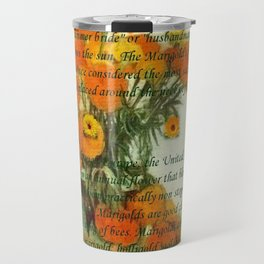 October's Child Birthday Card with Text and Marigolds Travel Mug