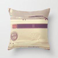 volkswagon Throw Pillows featuring WV Combi Bus Volkswagon Vintage Car (Retro Cream an Violet Van)  by Caroline Mint