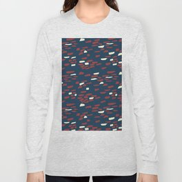 Abstract Stone Wall Pattern Print in Red, White, and Blue Long Sleeve T-shirt