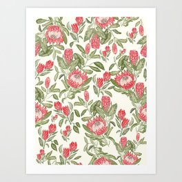 Protea Pattern Art Print