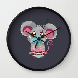 Kawaii rat in face mask with chocolate cake, Quarantine birthday Wall Clock