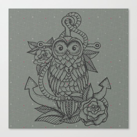 owl, roses & anchor Canvas Print