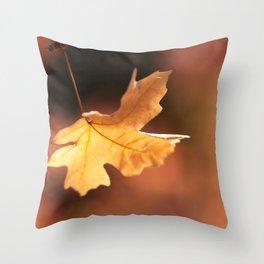 Golden Maple Leaf Throw Pillow