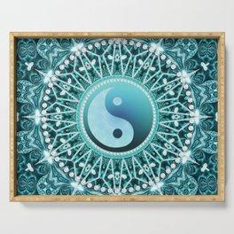 Tranquility Yin Yang Blue Aqua Mandala Serving Tray