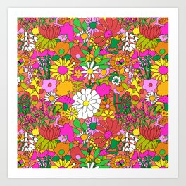 60's Groovy Garden in Neon Peach Coral Art Print