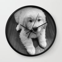 golden retriever Wall Clocks featuring Golden Retriever by Kimberly Jones