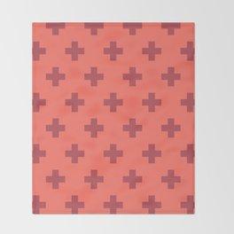 Swiss Cross Retro Red Throw Blanket