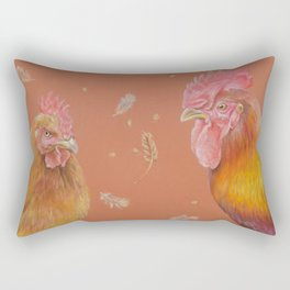 ROOSTER and HEN Farm animals Domestic birds illustration Rectangular Pillow
